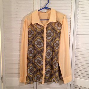 Forever 21 + 2X Sheer Yellow Teal Button Blouse
